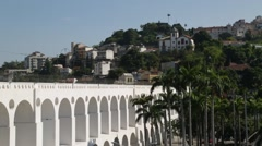 Santa Teresa with Lapa Arches (Arcos da Lapa) - Rio de Janeiro - Brazil Stock Footage