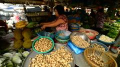 View of Fresh Nuts at Street Market in Pham Ngu Lao - Ho Chi Minh City (Saigon) Stock Footage