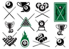 Billiard, pool and snooker sports emblems Piirros