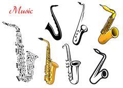 Cartoon saxophone music instruments Piirros