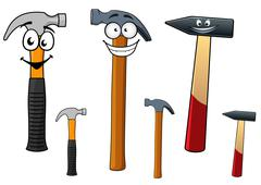 Assorted hammers with smiling face Stock Illustration