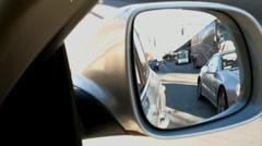 Car mirror traffic Stock Footage