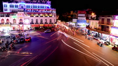 Time Lapse Busy Downtown Traffic at Night -  Hoan Kiem Lake / Hanoi Vietnam Stock Footage