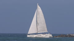 Sailboat Leaving The Harbor Stock Footage