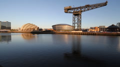 Clyde Auditorium, Hydro and Finnieston Crane  Scotland Stock Footage