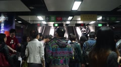 The Shenzhen subway station: people returning from Hongkong shopping - stock footage