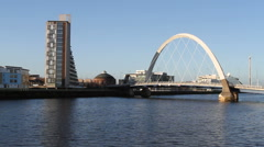 Clyde Arc over River Clyde Glasgow Scotland Stock Footage