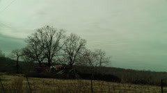 Fallen in barn dreary landscape Stock Footage