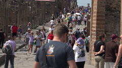 Naples Italy Pompeii crowd tourist ancient Roman city 4K 038 Stock Footage
