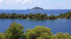 Picturesque bay and turtle island in Aegean Sea. Stock Footage