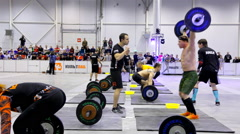 Unidentified athlete during the International crossfit competition - stock footage