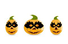 gang of pumpkins dressed in masks - stock illustration