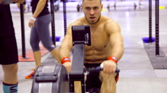 Unidentified athletes compete in the International crossfit competition Stock Footage