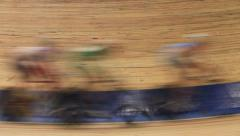 Bicycle race Indoor track blurred motion Stock Footage