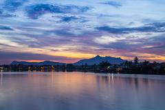 sunset in kuching, borneo - stock photo