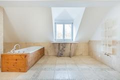 vintage bathroom in the attic - stock photo
