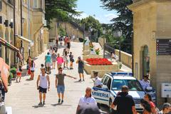 Tourists see the sights of san marino. the republic of san marino Stock Photos