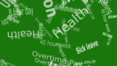 Union Falling Words White Letters on Green Background 4K Stock Footage