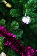 christmas bells pine tree feeling full happy - stock photo