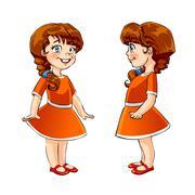 Stock Illustration of little girl, cartoon illustration