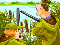 Hunters aiming the hunt. - stock illustration