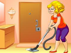 Housework, vacuum cleaner, young woman Stock Illustration