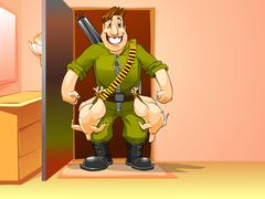 happy man came home from the hunt - stock illustration