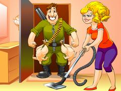 Happy man came home from the hunt, woman with vacuum cleaner Stock Illustration