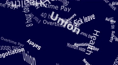 Union Falling Words White Letters on Blue Background 4K Stock Footage