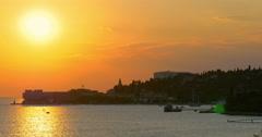 "Sunset at  Portorose or ""Port of Roses"", 4K Stock Footage"