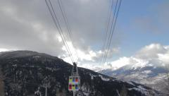 Vanoise Express cable car arriving Stock Footage