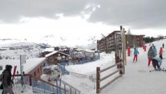 Arcs 1800 ski resort - stock footage