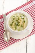 Asparagus cream soup with asparagus tips Stock Photos