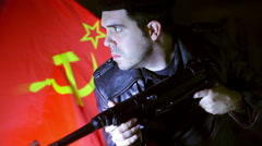communist soldier - stock footage