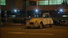 Old-fashioned car at the parking at night Stock Footage