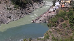 Stock Video Footage of Ganges River. Devprayag, India. Confluence of Alaknanda and Bhagirathi River