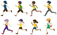 Children running Stock Illustration