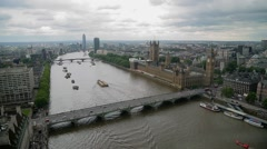 View of the Thames, Houses of Parlament and Big Ben in London Stock Footage