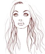 woman face. fashion illustration - stock illustration