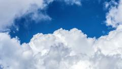 Tropical weather clouds pan view with flying birds. HD 1080 Stock Footage