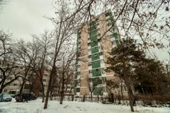 Eastern european establishing shot time lapse communist architecture building Stock Footage