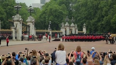 The crowd watching the Trooping the Colour parade on June 19, 2014 in London Stock Footage