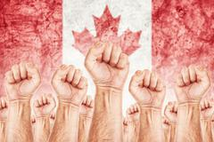 Stock Illustration of canada labour movement, workers union strike