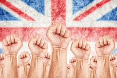Stock Illustration of great britain labour movement, workers union strike