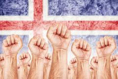 Stock Illustration of iceland labour movement, workers union strike