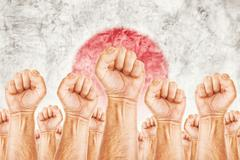 japan labour movement, workers union strike - stock illustration