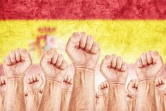 Stock Illustration of spain labour movement, workers union strike