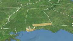 Alabama state (USA) extruded. Satellite map. Stock Footage