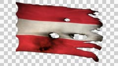 Austria perforated, burned, grunge waving flag loop alpha Stock Footage