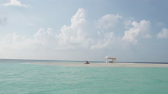 Spectacular Slow Motion Of White Sand Island In The Middle Of Maldivian Sea Stock Footage